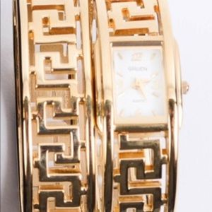 Accessories - Gruen Greek Key Design Watch and Bangle bracelet